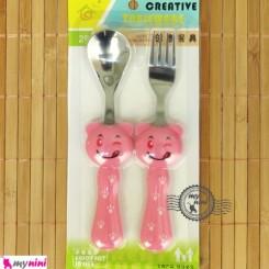 قاشق و چنگال کودک عروسکی صورتی خرس Baby Cartoon Tableware