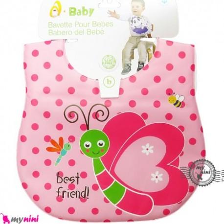 پیشبند ضد لک صورتی پروانه Baby cartoon waterproof bibs
