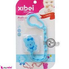 زنجیر پستانک عروسکی خرگوش آبی Baby cute pacifier holder