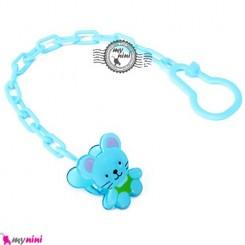 زنجیر پستانک عروسکی موشی آبی Baby cute pacifier holder