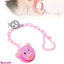 زنجیر پستانک عروسکی خرس صورتی Baby cute pacifier holder