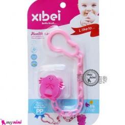 زنجیر پستانک عروسکی پنگوئن صورتی Baby cute pacifier holder