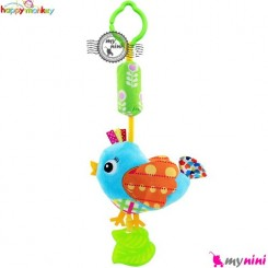 عروسک دندانگیر دار و صدادار هپی مانکی پرنده آبی Happy Monkey Baby Plush Toys