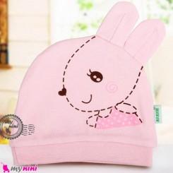 کلاه نوزاد پنبه ای خرگوش بامزه صورتی Newborn cotton hat