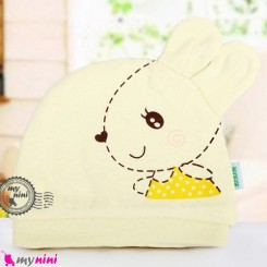 کلاه نوزاد پنبه ای خرگوش بامزه کِرِمی Newborn cotton hat
