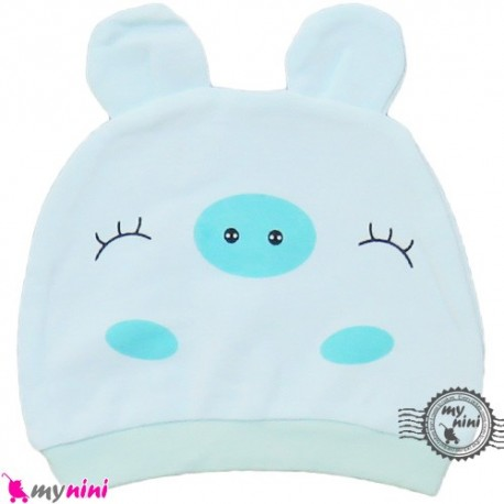 کلاه کشی نوزاد پنبه ای خوک بامزه Newborn cotton hat