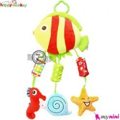 عروسک آویز صدادار ماهی هپی مانکی Happy monkey toys