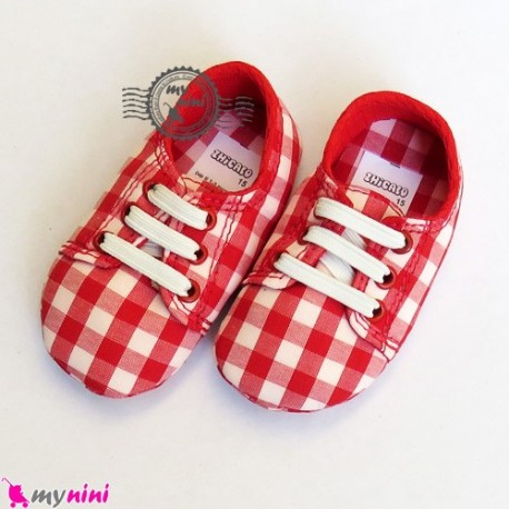 کفش پسرانه چهارخانه قرمز Baby shoes