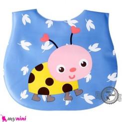 پیشبند ضد لک نوزاد و کودک آبی کفشدوزک Baby cartoon waterproof bibs