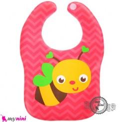 پیشبند ضد لک نوزاد و کودک صورتی زنبور Baby cartoon waterproof bibs