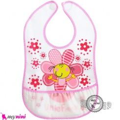 پیشبند نایلونی جیب دار صورتی گل Baby waterproof bib