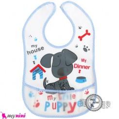 پیشبند نایلونی جیب دار آبی سگ Baby waterproof bib