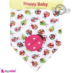 دستمال گردن نوزاد و کودک 2 لایه کفشدوزک Baby Triangle cotton bibs
