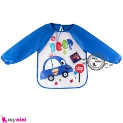 پیشبند لباسی بچه نایلونی آبی ماشین Baby long sleeve waterproof bib