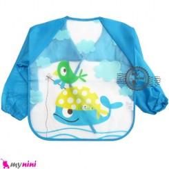 پیشبند لباسی بچه نایلونی آبی نهنگ Baby long sleeve waterproof bib