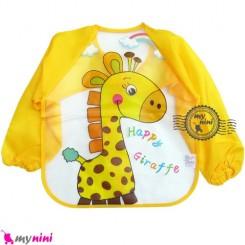 پیشبند لباسی بچه نایلونی زرد زرافه Baby long sleeve waterproof bib
