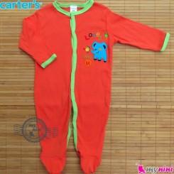 سرهمی کارترز پنبه ای نارنجی فیل Carter's baby bodysuit