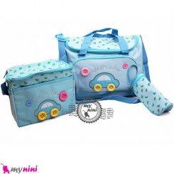 ساک لوازم نوزاد 4 تکه ماشین آبی Cute Car baby diaper bag 4pcs