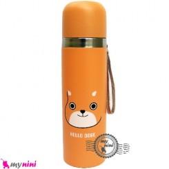 فلاسک استیل نارنجی حیوانات Baby thermos flask