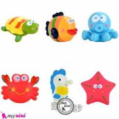 اسباب بازی حمام نوزاد و کودک 6 عددی bath toys
