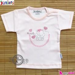 بلوز آستین کوتاه پنبه ای صورتی جونیورز Juniors baby pink Tshirt