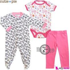 ست لباس پنبه ای 3 تکه گلدار Cutie Pie baby clothes