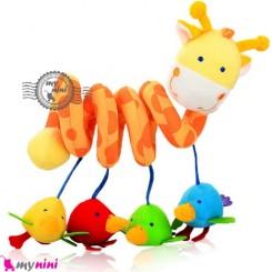 عروسک آویز پولیشی موزیکال زرافه baby activity spiral plush toy