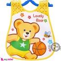 پیشبند نایلونی جیب دار خرس و توپ Baby waterproof bib