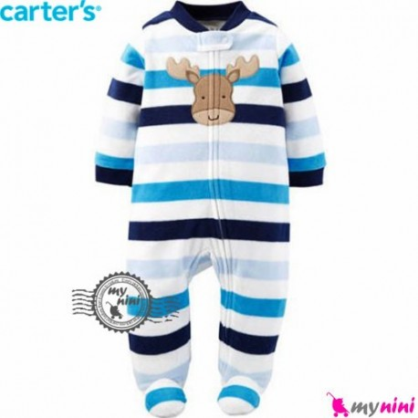 سرهمی مخمل راه راه آبی گوزن کارترز Carter's warm sleepsuit