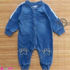 سرهمی لی بچگانه آبی تیره Baby jeans sleepsuits