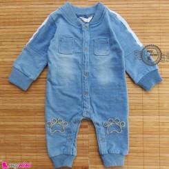 سرهمی لی بچگانه آبی روشن Baby jeans sleepsuits