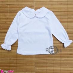 بلوز مجلسی پنبه ای یقه ب ب سفید Baby shirt