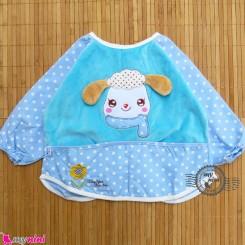 پیشبند لباسی مخمل ضدآب گوسفند رنگ آبی Baby long sleeve waterproof bib