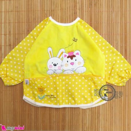 پیشبند لباسی مخمل ضدآب خرگوش و گربه زرد Baby long sleeve waterproof bib