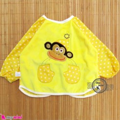پیشبند لباسی مخمل ضدآب میمون زرد Baby long sleeve waterproof bib