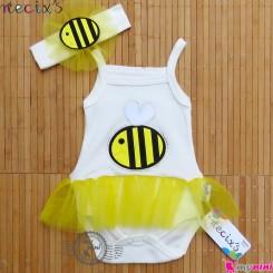 رکابی زیردکمه دار توردار نوزاد و کودک زنبور نسیکسِز ترکیه به همراه تل Necix's baby sleeveless bodysuits