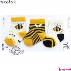 جوراب پنبه ای زنبور 3 عددی نسیکسِز ترکیه Necix's bebek socks