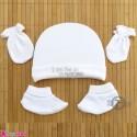 ست کلاه دستکش پاپوش سفید پنبه ای نوزادی نیو وان Newborn Set