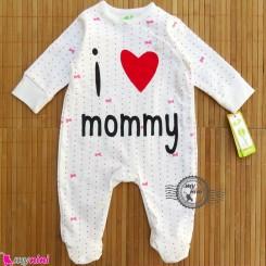 سرهمی پنبه ای آی لاو مامی I love mommy baby cotton overalls
