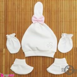 ست کلاه دستکش پاپوش پنبه ای پاپیون دار Newborn baby cotton hat Set