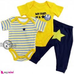 ست بادی و شلوار 3 تکه پنبه ای مارک ویکِند طرح ستاره Weekend baby bodysuits and pants set