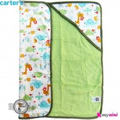 پتو کلاه دار کارترز فیل و زرافه پرز سبز Carters baby hooded fleece blanket