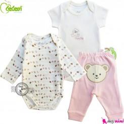 ست بادی و شلوار 3 تکه نخی مارک بِبِسی ترکیه خرسی Bebessi baby bodysuits and pants set