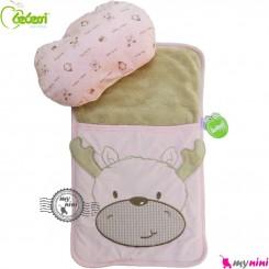 تشک بالش و قنداق نوزاد 2 کاره بِبِسی صورتی گوزن Turkish Bebessi baby mattress