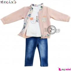 ست لباس اسپرت نسیکسز ترکیه 3 تکه صورتی Turkish necixs girl clothes set
