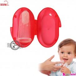 مسواک انگشتی قاب دار مارک اپل بی بی قرمز Apple baby toothbrush