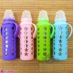 شیشه شیر پیرکس محافظ دار 240 میل ضد نفخ مارک آیبائو Aiybao standard caliber bottle with handle