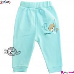 شلوار نوزاد و کودک نخ پنبه ای آبی جونیورز Juniors baby blue pants