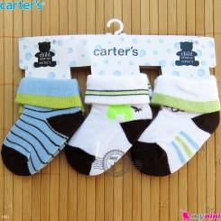 جوراب کارترز بدو تولد تا یکسال 3 عددی Carter's baby cute socks