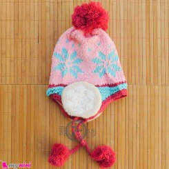 کلاه بافتنی نوزاد و کودک 2 لایه رو گوشی صورتی روشن Baby warm hat